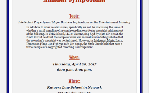 Entertainment Attorney Panelist at Rutgers Law Symposium