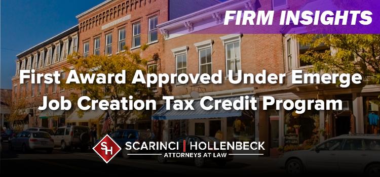 First Award Approved Under Emerge Job Creation Tax Credit Program